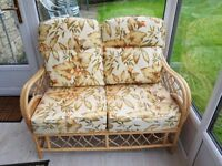 Two seater settee + 2 arm chairs in Rattan