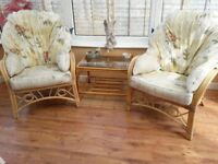Conservatory chairs and glass top table
