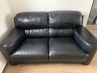 Free leather 2 seater black sofa