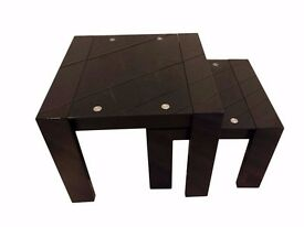 All Black Glass Top End Table With Matching Smaller Table