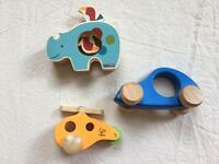 Skip Hop Rhino Spin and Play and Hape Little Copter and Car