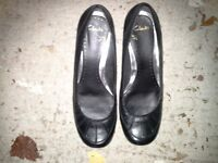 Ladies black leather Clarkes shoes size 6, small wedged heel, excellent condition