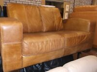 SHABBY CHIC ANILINE LEATHER TWO SEATER SOFA