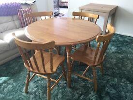 Oak Drop Leaf Table + 4 Chairs