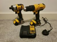 1x dewalt impact driver 1x dewalt drill 2x 1.5 ah battery and charger