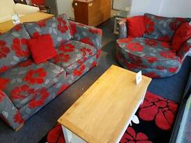 Three seater & cuddle chair suite