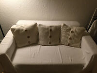 SET OF 3 Catherine Lansfield Chunky Knit Cushions 45x45cm - White - LIKE NEW (IKEA,HABITAT)