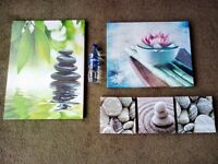 5 wooden framed pictures/art/posters
