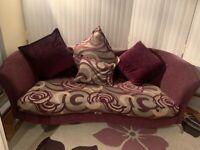 DFS 3 Seater Sofa in Purple & Silver