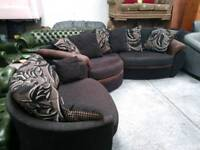 Lovely looking corner sofa with swivel cuddle chair