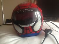 Spider-Man Radio Alarm Clock with spider projects red on ceiling.
