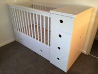 3 in 1 Cot Bed | Changing Table | Chest of Drawers + Coconut Mattress!