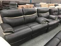 La Z Boy Charcoal and Grey leather 2 seater sofa and armchair