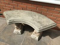 Curved Stone Squirrel Bench Seat
