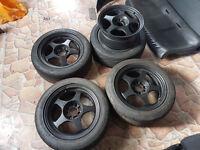 Rota wheels & semi slick Nankang NS2R 4x100 Honda Civic Renault Clio Vauxhall Corsa Nova VW Golf