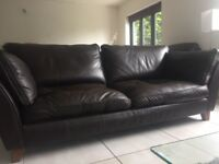 Marks and Spencer's large brown leather sofa