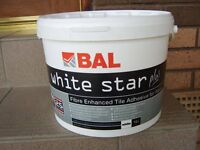 Bal White Star fibre enchanced tile adhesive, 10 litre container,see ad. for details
