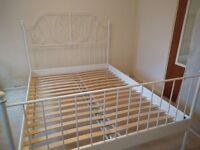Ikea LEIRVIK White/luröy King Size Metal bed frame for sale