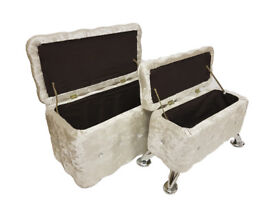 Set Of 2 Beige Crush Velvet Diamante Ottoman Storage Box Footstool Pouffe Seat Chair Chest Trunk