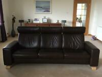 Stressless EKO Reclining 3 Seater in Chocolate Leather