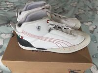 Puma Driving Power Mid SF Ferrari Mens Leather Trainers / Shoes - White size 8