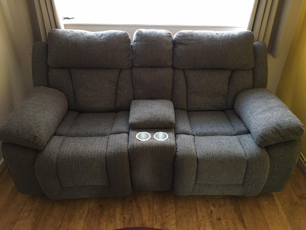 Scs Grey Fabric Cinema Sofa Reclining With Centre Console