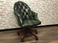 Antique Green Leather Chesterfield Captains Chair