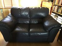 2 seater navy leather settee