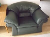 Green Leather Armchair with matching Footstool
