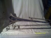 A TROMBONE In SILVER PLATE In V.G.C. with MOUTHPIECE & CASE .by BESSON ( ENGLAND )