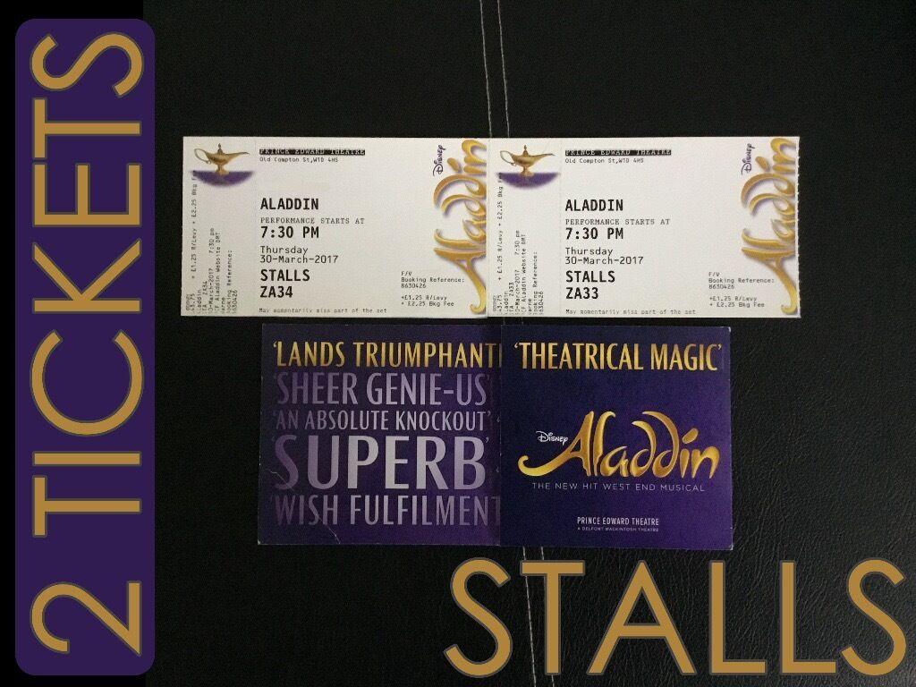 disney aladdin 30 03 2017 musical tickets 2 seats stalls. Black Bedroom Furniture Sets. Home Design Ideas