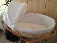 Moses basket. Hardly used. Only used on overnight stays by grand son. Vgc