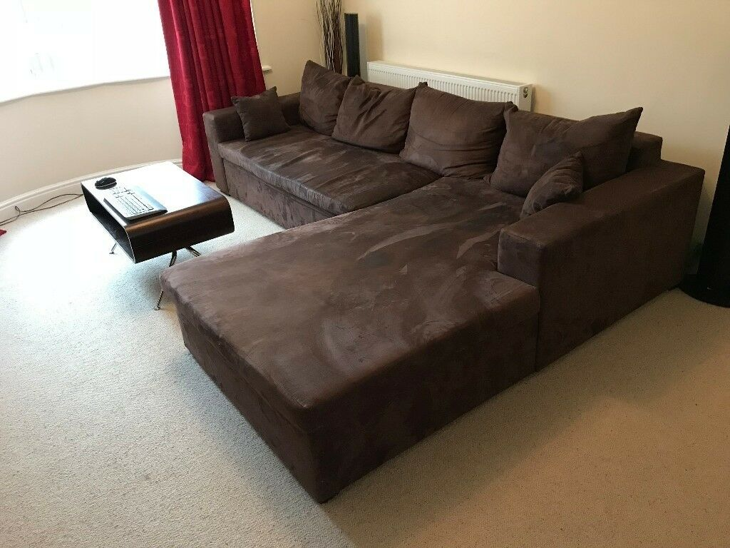 corner sofa in brown 270cm wide alcantara leather in hagley west midlands gumtree. Black Bedroom Furniture Sets. Home Design Ideas