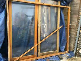 Salvage oak patio doors