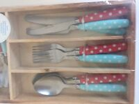 Cutlery set and Tray - spotty
