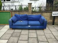 3 seat sofa, blue FREE pickup only