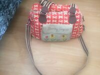 Changing bag Pink lining cream bow on red blooming gorgeous changing bag