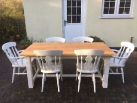 6 ft Pine Dining Table Painted White and 6 Beech Wooden Chairs Farmhouse Kitchen Shabby Chic