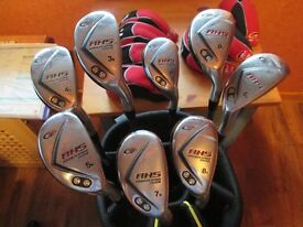 set of hybrid irons, 3,4,5,6,7,8,9, pitching wedge, putter