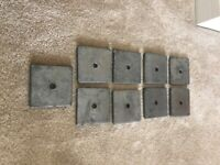 Steel plate washers 100x100x10mm (x5). £8 for 5