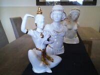 3 porcelain figurine statues