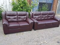 Great 1 month old brown leather 3 and 2 seater sofas. clean and tidy. never used. can deliver