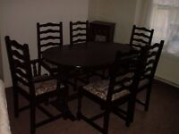 DINING ROOM TABLE AND SIX CHAIRS (can be extended)