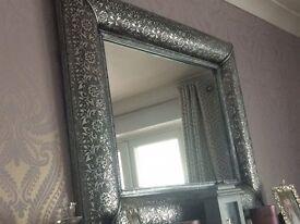Large Rectangular Silver Moroccan Mirror