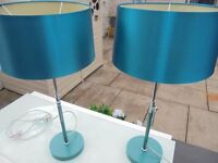 Two Beautiful table lamps, Teal in colour