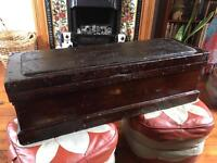 Stunning antique large hand crafted wood tool chest - bevelling and hand painted detail