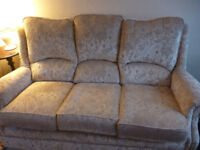 3 Piece Suite 3 seater & 2 Armchairs- Beige Velour Well Made and comfortable