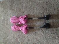 2x pink hauk universal sun parasols