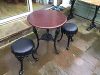 Pub table cast base & 2 cast iron bar stools
