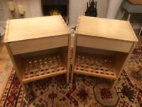Pair of solid wood bedside draws